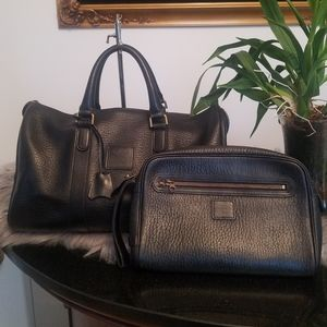 Burberry leather overnight bag with free pouch